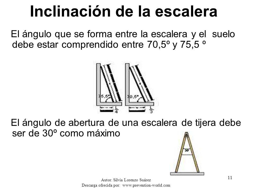 Autor: Silvia Lorenzo Suárez Descarga ofrecida por: www.prevention-world.com 11 Inclinación de la escalera El ángulo que se forma entre la escalera y