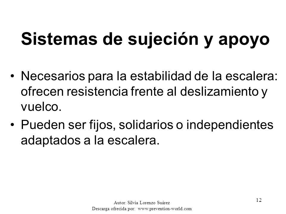 Autor: Silvia Lorenzo Suárez Descarga ofrecida por: www.prevention-world.com 12 Sistemas de sujeción y apoyo Necesarios para la estabilidad de la esca