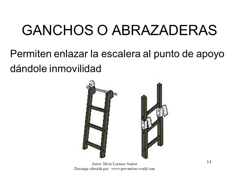 Autor: Silvia Lorenzo Suárez Descarga ofrecida por: www.prevention-world.com 14 GANCHOS O ABRAZADERAS Permiten enlazar la escalera al punto de apoyo d
