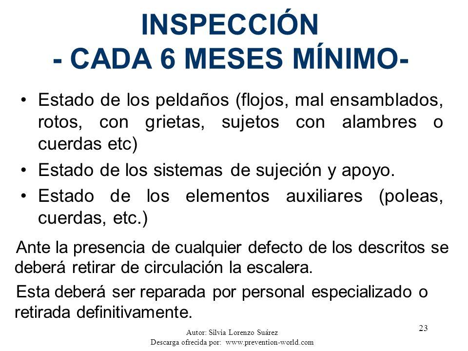 Autor: Silvia Lorenzo Suárez Descarga ofrecida por: www.prevention-world.com 23 INSPECCIÓN - CADA 6 MESES MÍNIMO- Estado de los peldaños (flojos, mal