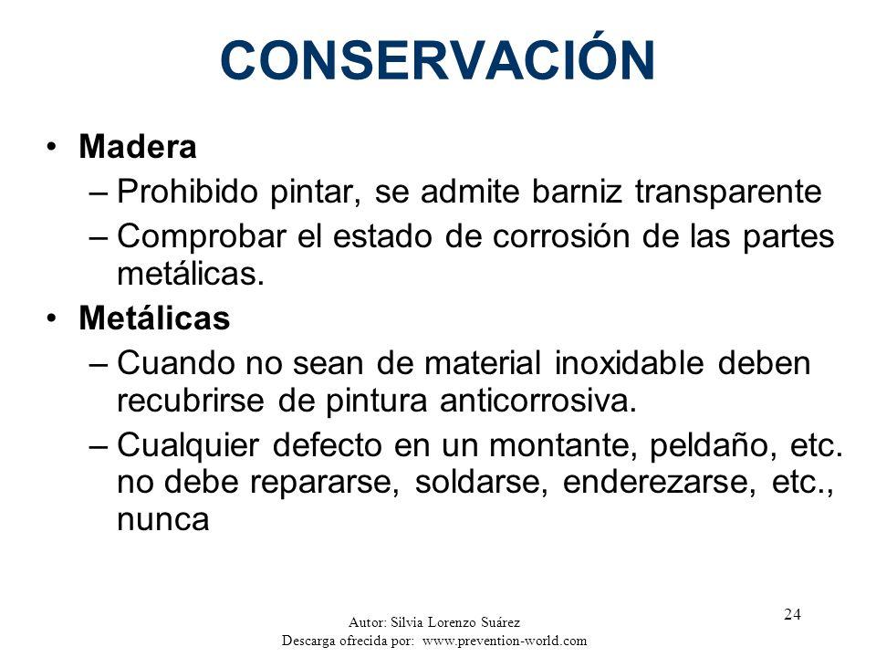 Autor: Silvia Lorenzo Suárez Descarga ofrecida por: www.prevention-world.com 24 CONSERVACIÓN Madera –Prohibido pintar, se admite barniz transparente –