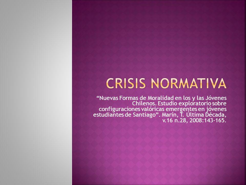 Nuevas Formas de Moralidad en los y las Jóvenes Chilenos. Estudio exploratorio sobre configuraciones valóricas emergentes en jóvenes estudiantes de Sa