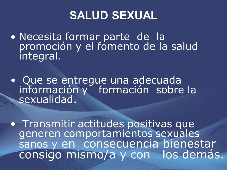 SALUD SEXUAL Separarla del concepto Reproductiva.