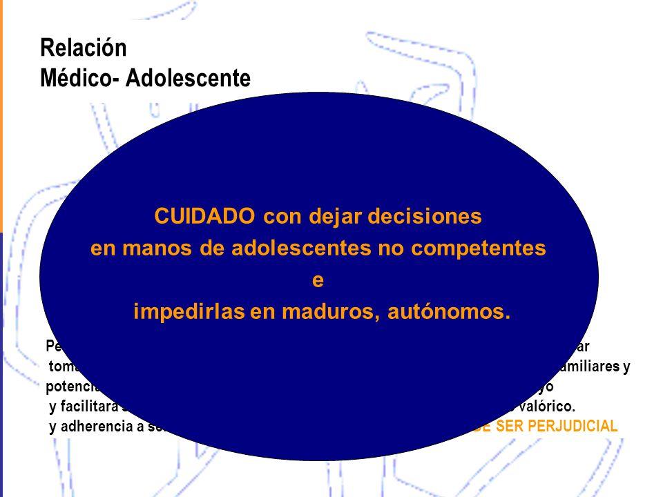 Relación Médico- Adolescente Permitir al adolescente tomar sus decisiones potenciará su desarrollo y facilitará su acceso y adherencia a servicios Per