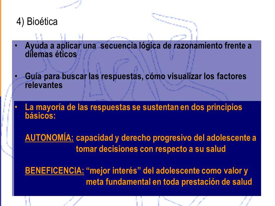 4) Bioética Ayuda a aplicar una secuencia lógica de razonamiento frente a dilemas éticos Guía para buscar las respuestas, cómo visualizar los factores