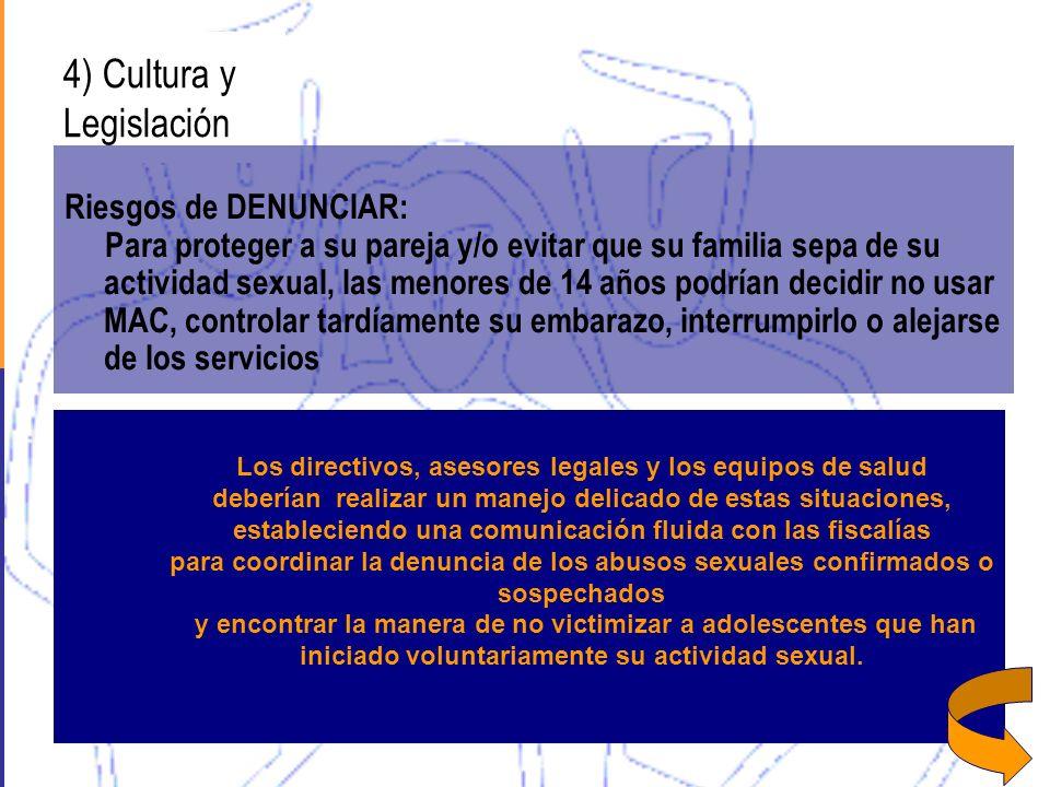4) Cultura y Legislación Riesgos de DENUNCIAR: Para proteger a su pareja y/o evitar que su familia sepa de su actividad sexual, las menores de 14 años