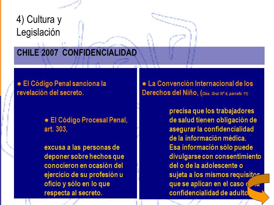 4) Cultura y Legislación CHILE 2007 CONFIDENCIALIDAD El Código Penal sanciona la revelación del secreto. El Código Procesal Penal, art. 303, excusa a