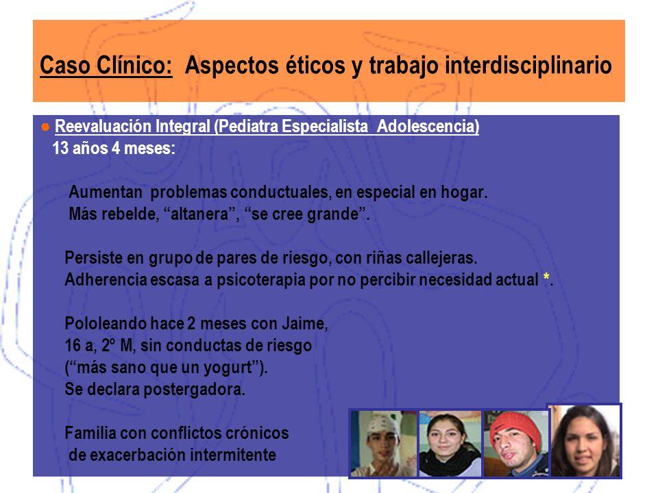 Reevaluación Integral (Pediatra Especialista Adolescencia) 13 años 4 meses: Aumentan problemas conductuales, en especial en hogar. Más rebelde, altane