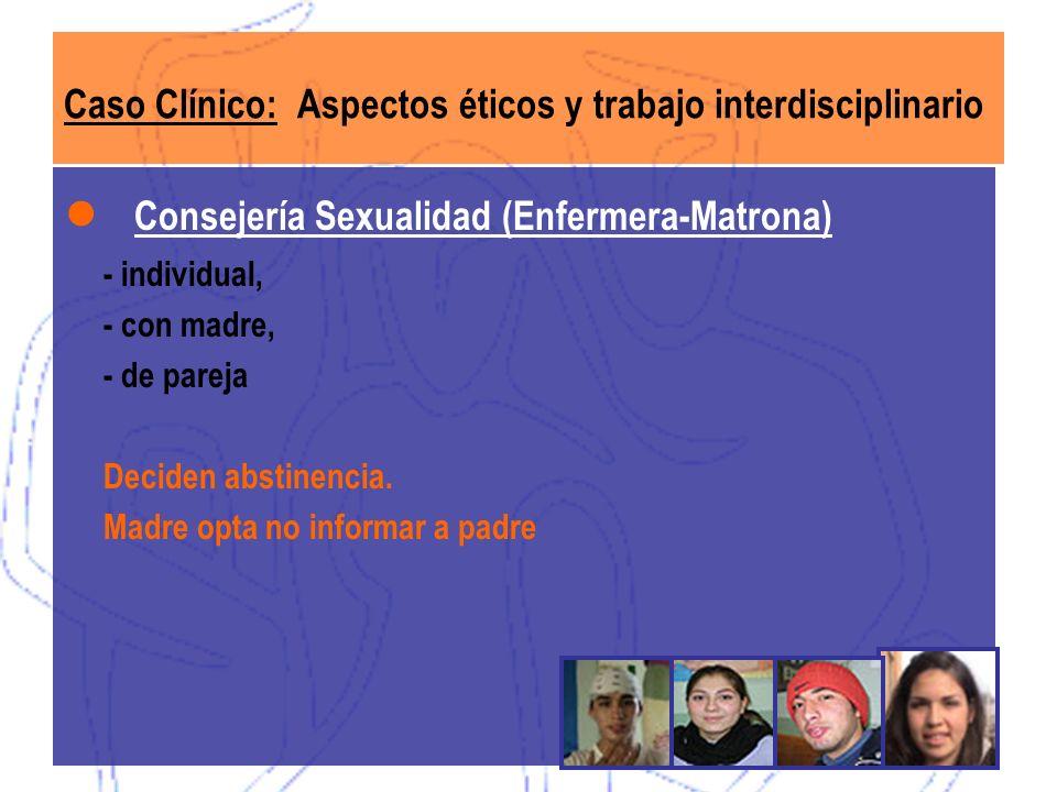 Caso Clínico: Aspectos éticos y trabajo interdisciplinario Consejería Sexualidad (Enfermera-Matrona) - individual, - con madre, - de pareja Deciden ab