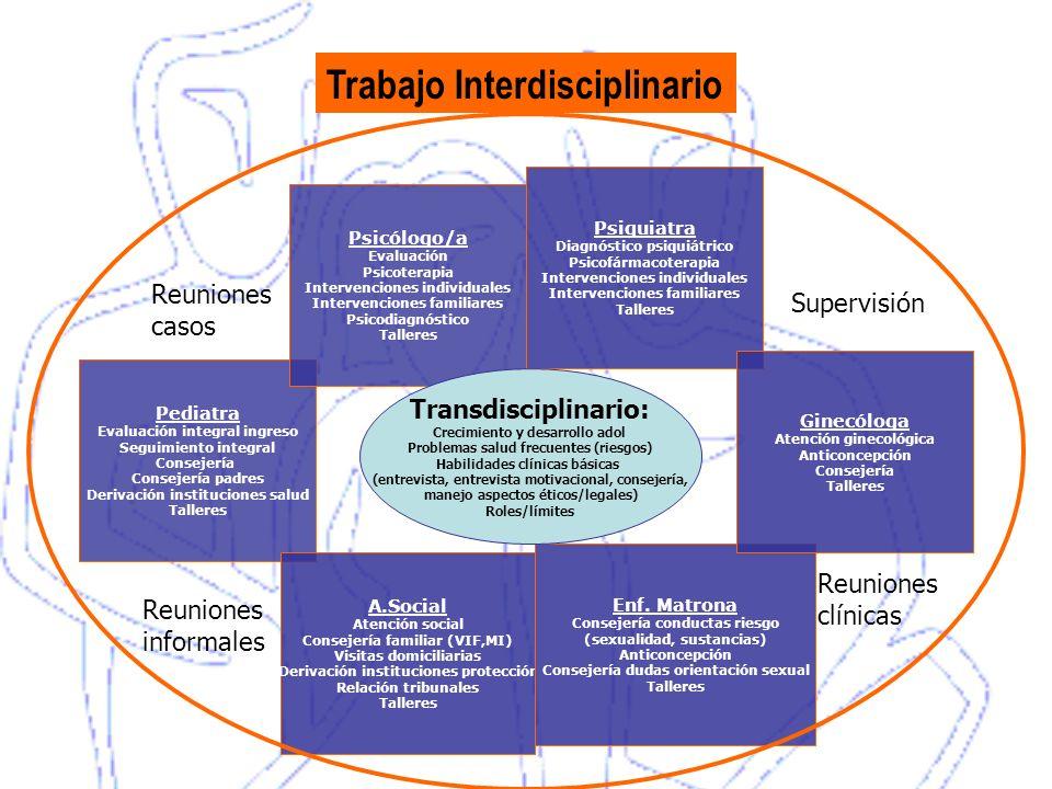 Pediatra Evaluación integral ingreso Seguimiento integral Consejería Consejería padres Derivación instituciones salud Talleres Psicólogo/a Evaluación
