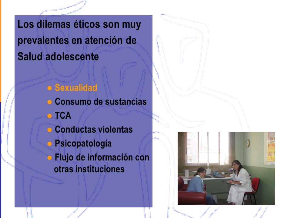 Los dilemas éticos son muy prevalentes en atención de Salud adolescente Sexualidad Consumo de sustancias TCA Conductas violentas Psicopatología Flujo
