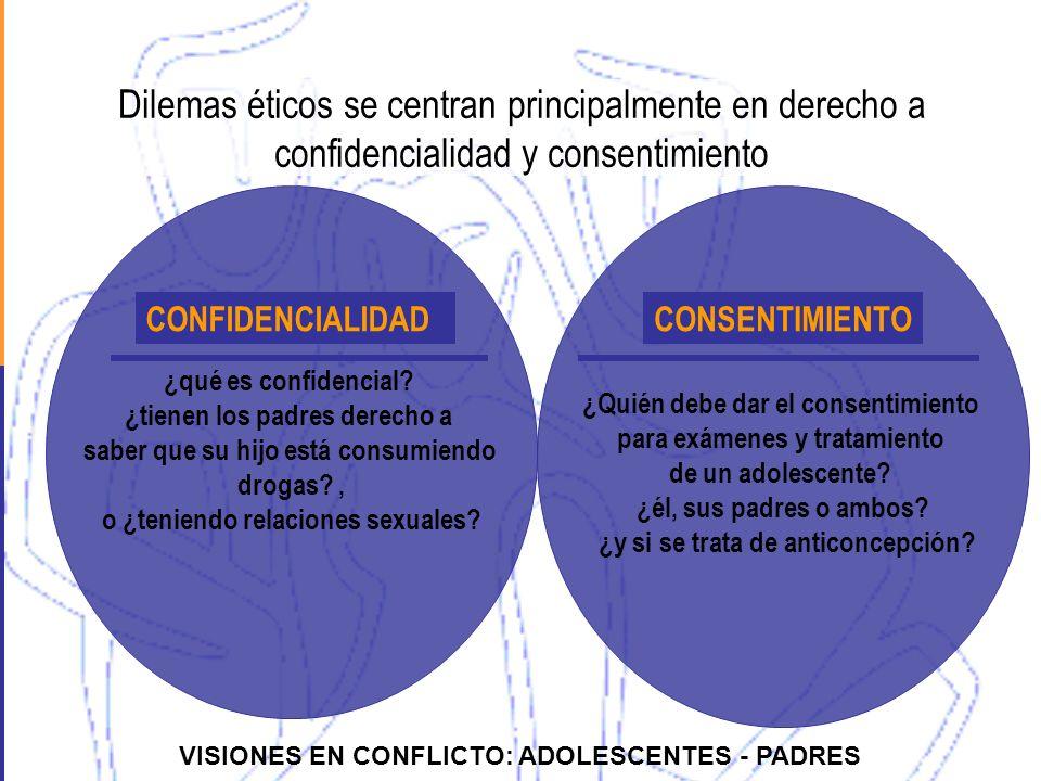 Dilemas éticos se centran principalmente en derecho a confidencialidad y consentimiento ¿qué es confidencial? ¿tienen los padres derecho a saber que s