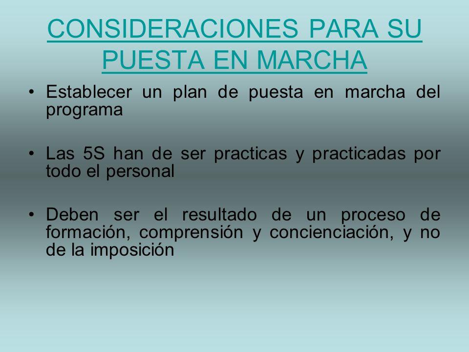 CONSIDERACIONES PARA SU PUESTA EN MARCHA Establecer un plan de puesta en marcha del programa Las 5S han de ser practicas y practicadas por todo el per