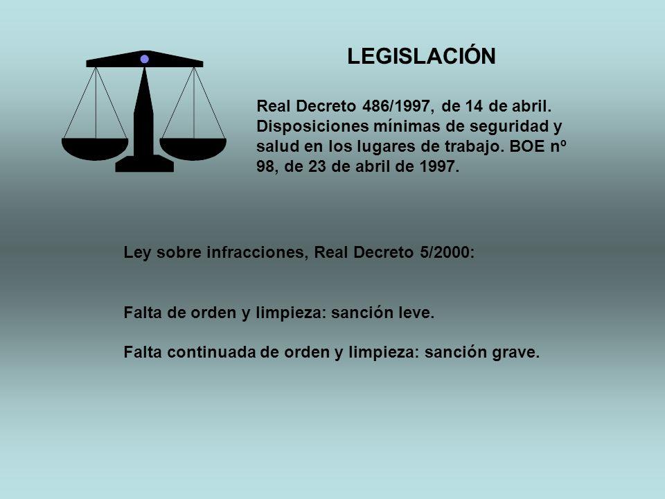 LEGISLACIÓN Real Decreto 486/1997, de 14 de abril. Disposiciones mínimas de seguridad y salud en los lugares de trabajo. BOE nº 98, de 23 de abril de