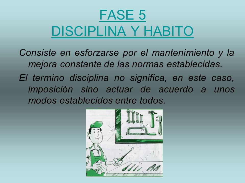 FASE 5 DISCIPLINA Y HABITO Consiste en esforzarse por el mantenimiento y la mejora constante de las normas establecidas. El termino disciplina no sign