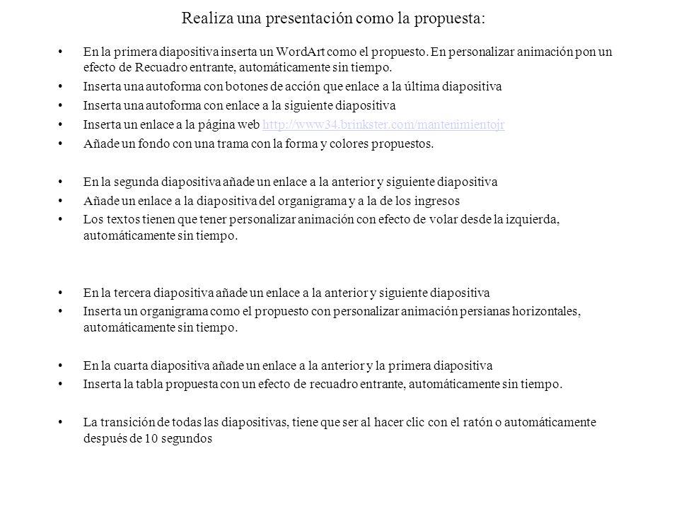 Realiza una presentación como la propuesta: En la primera diapositiva inserta un WordArt como el propuesto.