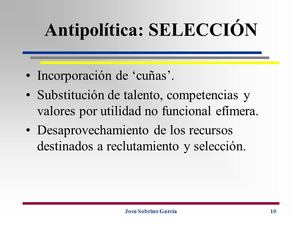 Josu Sobrino García10 Antipolítica: SELECCIÓN Incorporación de cuñas. Substitución de talento, competencias y valores por utilidad no funcional efímer