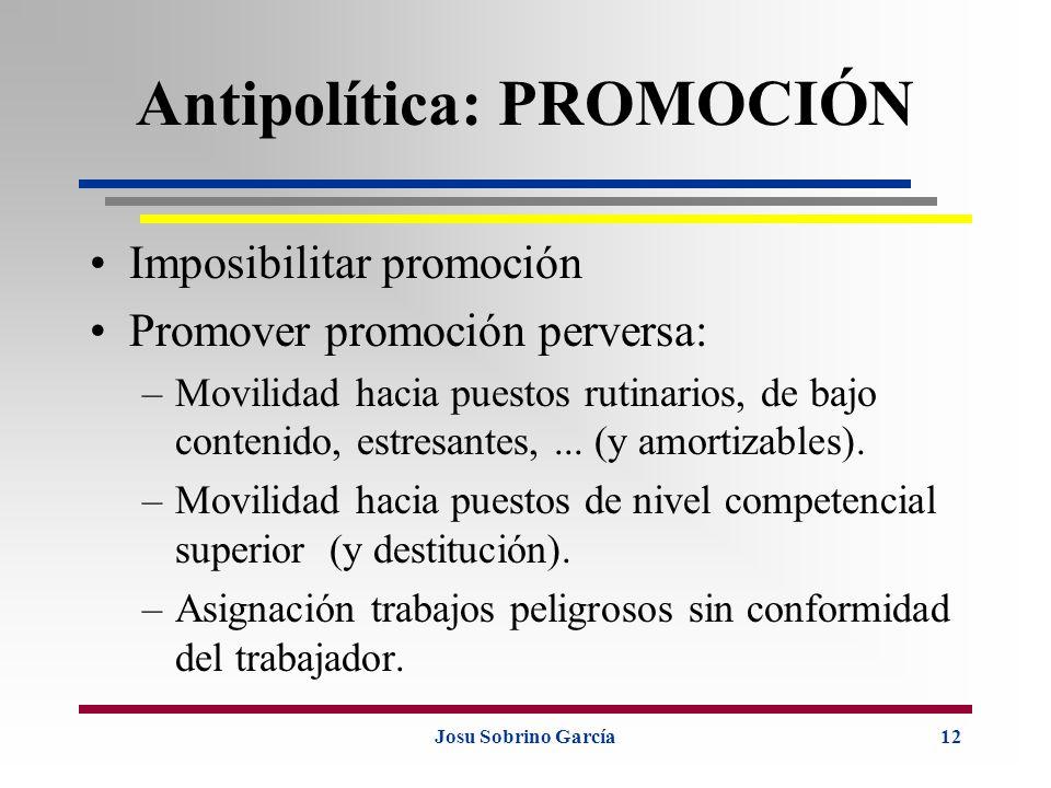 Josu Sobrino García12 Antipolítica: PROMOCIÓN Imposibilitar promoción Promover promoción perversa: –Movilidad hacia puestos rutinarios, de bajo conten