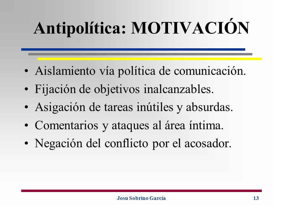 Josu Sobrino García13 Antipolítica: MOTIVACIÓN Aislamiento vía política de comunicación. Fijación de objetivos inalcanzables. Asigación de tareas inút