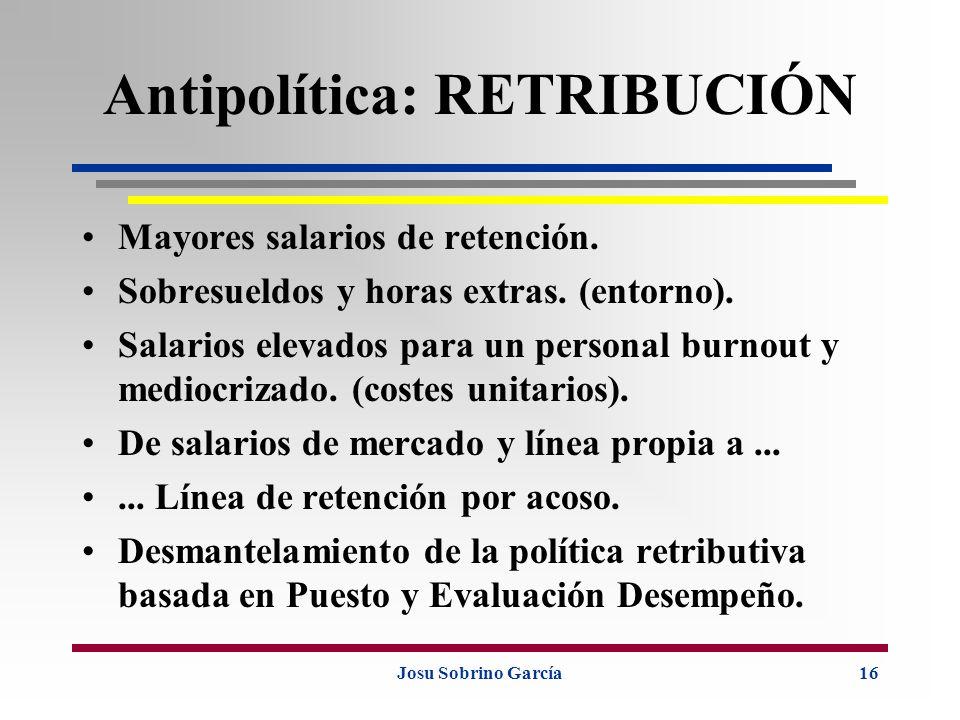 Josu Sobrino García16 Antipolítica: RETRIBUCIÓN Mayores salarios de retención. Sobresueldos y horas extras. (entorno). Salarios elevados para un perso
