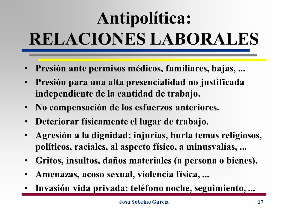 Josu Sobrino García17 Antipolítica: RELACIONES LABORALES Presión ante permisos médicos, familiares, bajas,... Presión para una alta presencialidad no