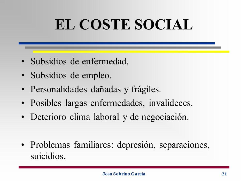 Josu Sobrino García21 EL COSTE SOCIAL Subsidios de enfermedad. Subsidios de empleo. Personalidades dañadas y frágiles. Posibles largas enfermedades, i