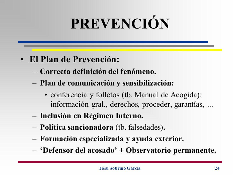 Josu Sobrino García24 PREVENCIÓN El Plan de Prevención: –Correcta definición del fenómeno. –Plan de comunicación y sensibilización: conferencia y foll