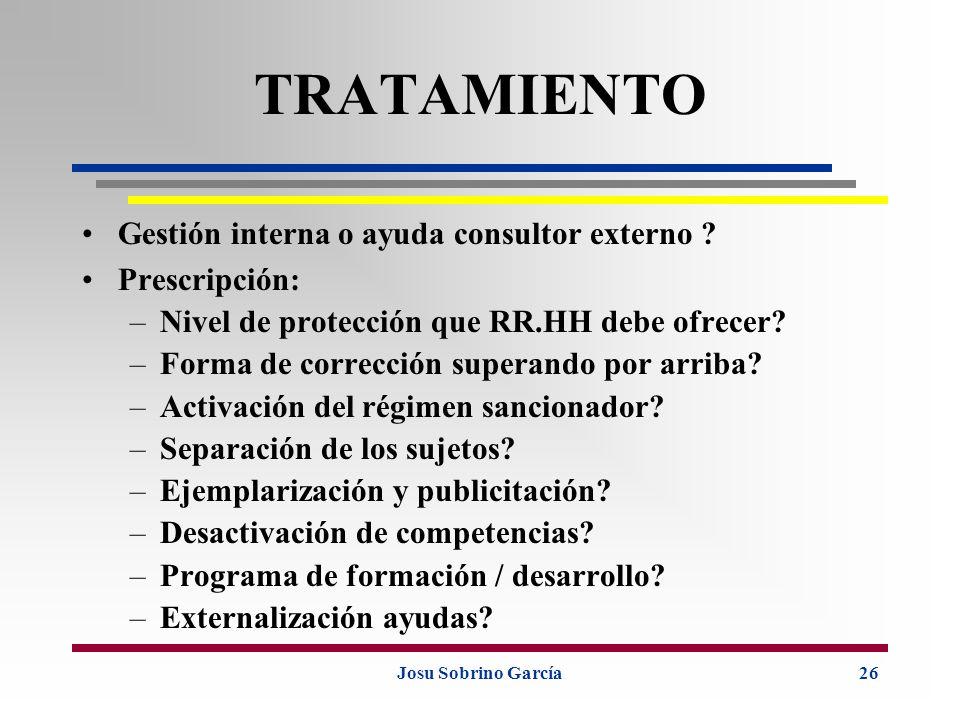 Josu Sobrino García26 TRATAMIENTO Gestión interna o ayuda consultor externo ? Prescripción: –Nivel de protección que RR.HH debe ofrecer? –Forma de cor