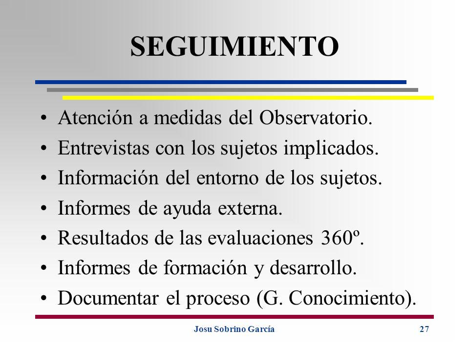 Josu Sobrino García27 SEGUIMIENTO Atención a medidas del Observatorio. Entrevistas con los sujetos implicados. Información del entorno de los sujetos.