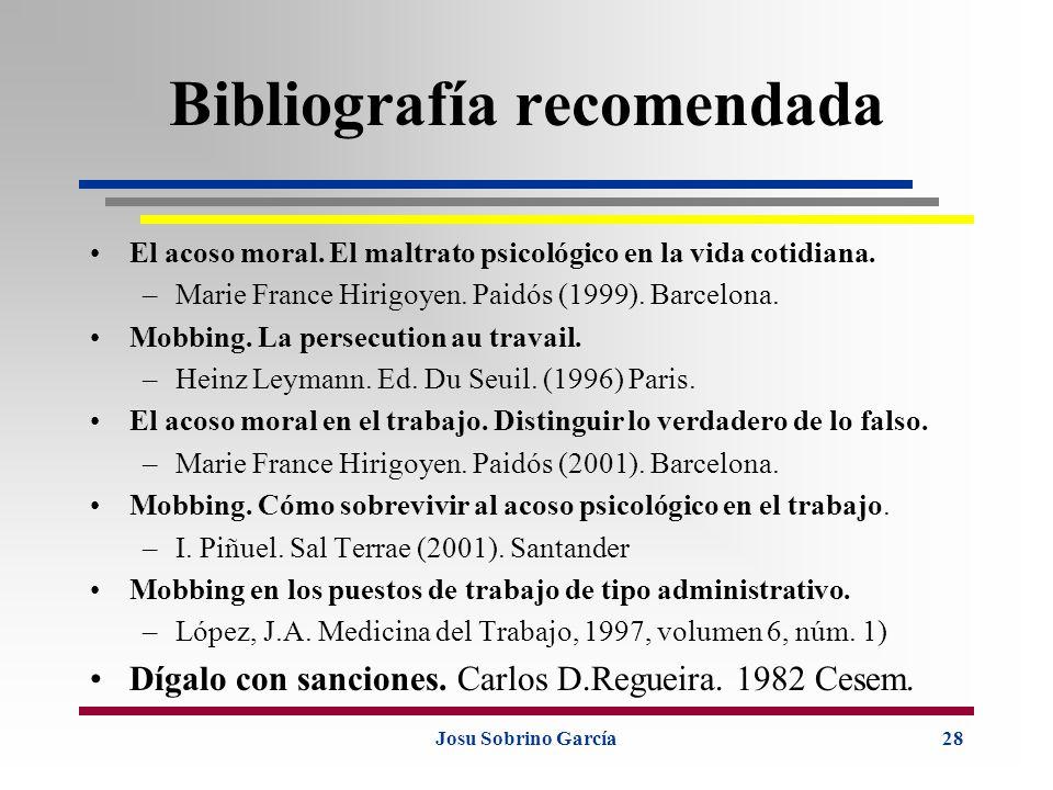 Josu Sobrino García28 Bibliografía recomendada El acoso moral. El maltrato psicológico en la vida cotidiana. –Marie France Hirigoyen. Paidós (1999). B