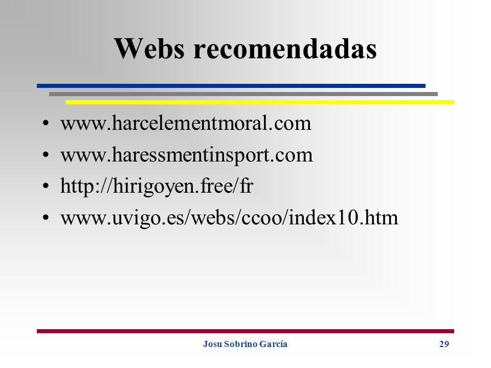 Josu Sobrino García29 Webs recomendadas www.harcelementmoral.com www.haressmentinsport.com http://hirigoyen.free/fr www.uvigo.es/webs/ccoo/index10.htm