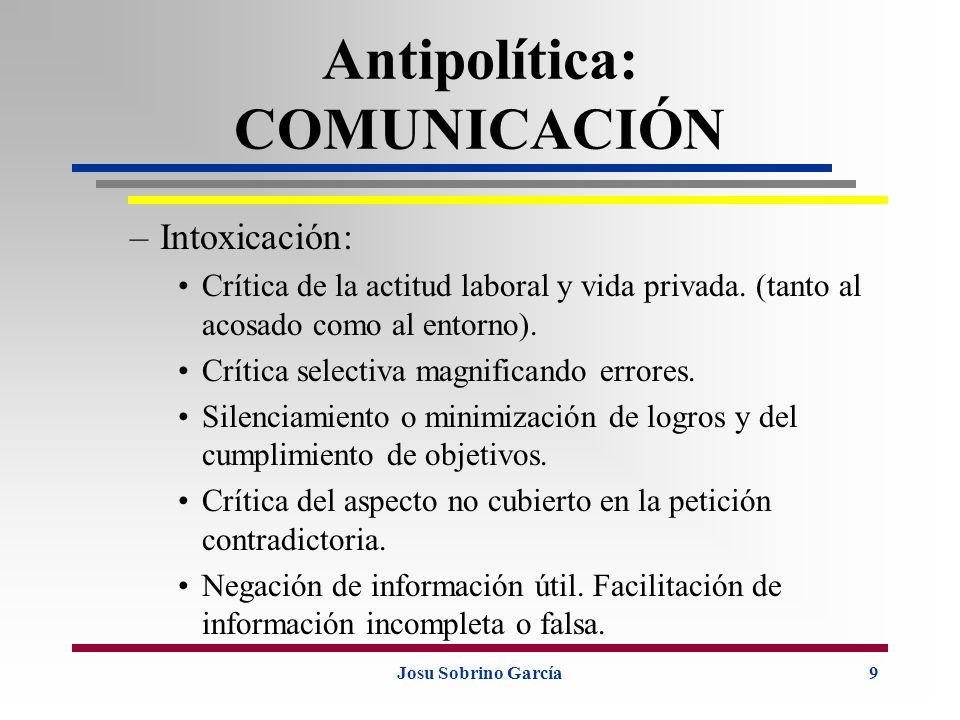 Josu Sobrino García9 Antipolítica: COMUNICACIÓN –Intoxicación: Crítica de la actitud laboral y vida privada. (tanto al acosado como al entorno). Críti