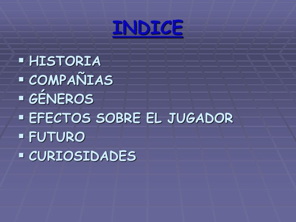 INDICE HISTORIA HISTORIA COMPAÑIAS COMPAÑIAS GÉNEROS GÉNEROS EFECTOS SOBRE EL JUGADOR EFECTOS SOBRE EL JUGADOR FUTURO FUTURO CURIOSIDADES CURIOSIDADES
