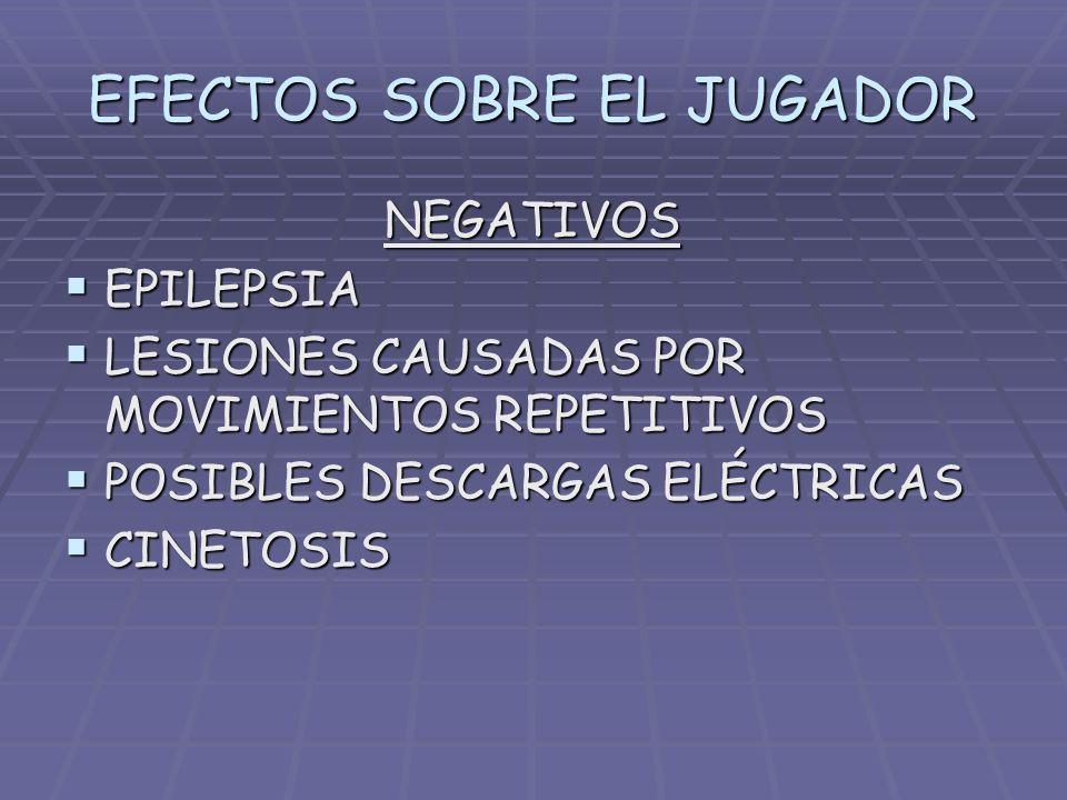 EFECTOS SOBRE EL JUGADOR NEGATIVOS EPILEPSIA LESIONES CAUSADAS POR MOVIMIENTOS REPETITIVOS POSIBLES DESCARGAS ELÉCTRICAS CINETOSIS
