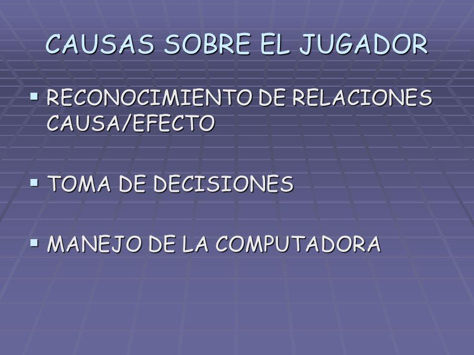 CAUSAS SOBRE EL JUGADOR RECONOCIMIENTO DE RELACIONES CAUSA/EFECTO RECONOCIMIENTO DE RELACIONES CAUSA/EFECTO TOMA DE DECISIONES TOMA DE DECISIONES MANE