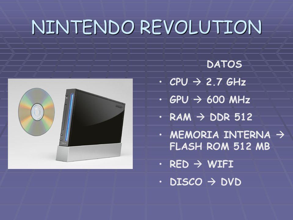 NINTENDO REVOLUTION DATOS CPU 2.7 GHz GPU 600 MHz RAM DDR 512 MEMORIA INTERNA FLASH ROM 512 MB RED WIFI DISCO DVD