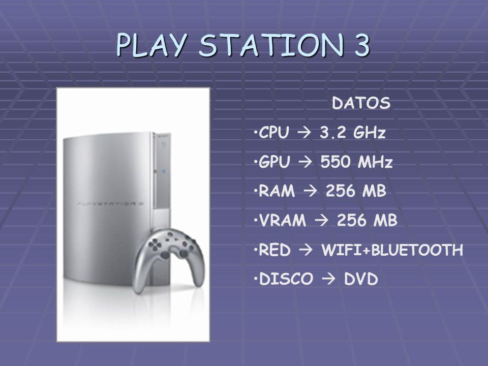 PLAY STATION 3 DATOS CPU 3.2 GHz GPU 550 MHz RAM 256 MB VRAM 256 MB RED WIFI+BLUETOOTH DISCO DVD