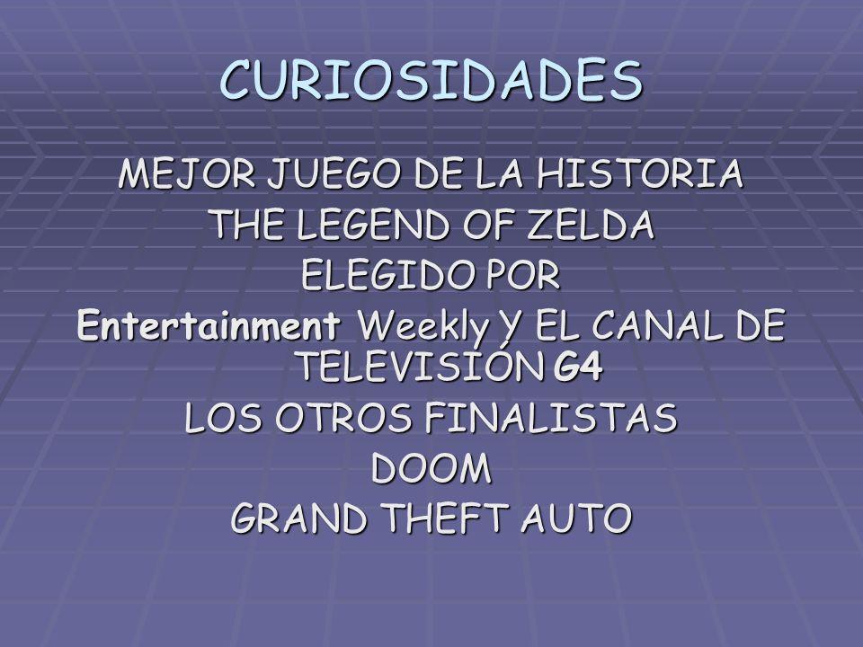 CURIOSIDADES MEJOR JUEGO DE LA HISTORIA THE LEGEND OF ZELDA ELEGIDO POR Entertainment Weekly Y EL CANAL DE TELEVISIÓN G4 LOS OTROS FINALISTAS DOOM GRA