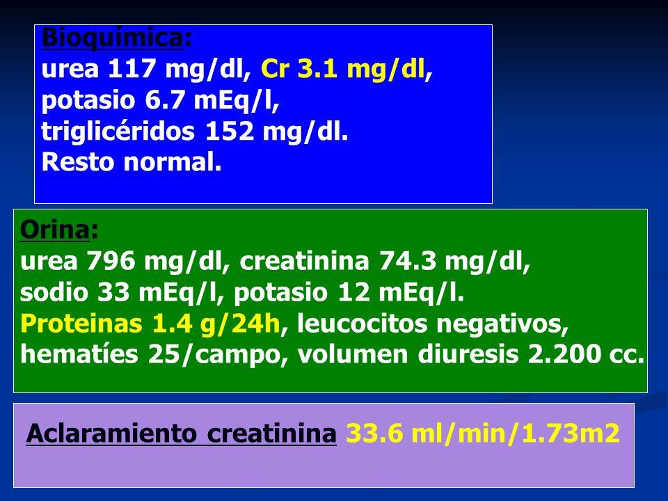 Bioquímica: urea 117 mg/dl, Cr 3.1 mg/dl, potasio 6.7 mEq/l, triglicéridos 152 mg/dl. Resto normal. Orina: urea 796 mg/dl, creatinina 74.3 mg/dl, sodi