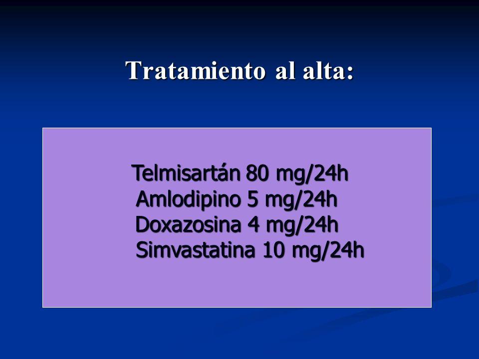 Tratamiento al alta: Telmisartán 80 mg/24h Telmisartán 80 mg/24h Amlodipino 5 mg/24h Doxazosina 4 mg/24h Simvastatina 10 mg/24h Simvastatina 10 mg/24h