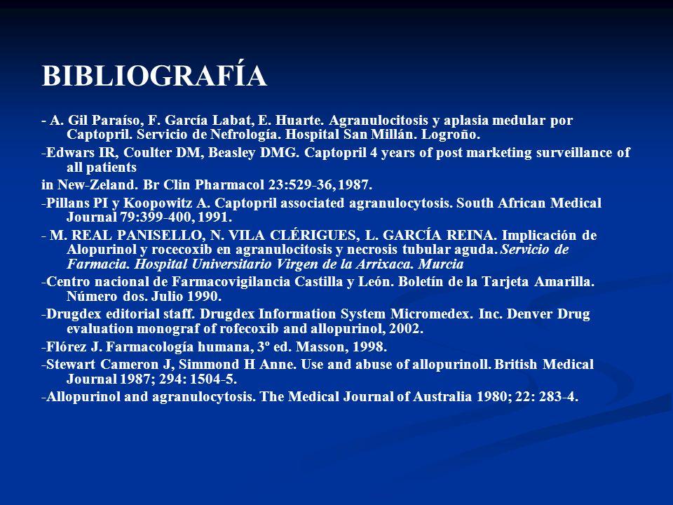 BIBLIOGRAFÍA - A. Gil Paraíso, F. García Labat, E. Huarte. Agranulocitosis y aplasia medular por Captopril. Servicio de Nefrología. Hospital San Millá
