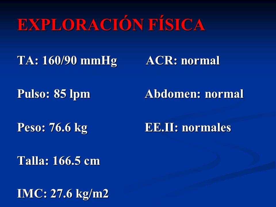 EXPLORACIÓN FÍSICA TA: 160/90 mmHg ACR: normal Pulso: 85 lpm Abdomen: normal Peso: 76.6 kg EE.II: normales Talla: 166.5 cm IMC: 27.6 kg/m2