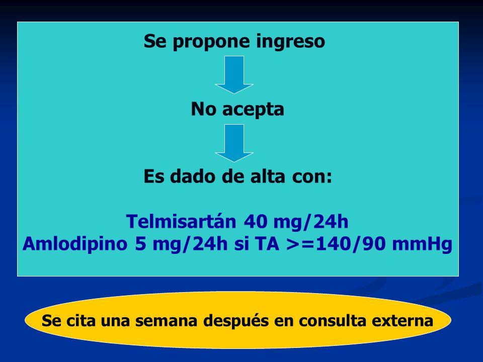 - Se propone ingreso No acepta Es dado de alta con: Telmisartán 40 mg/24h Amlodipino 5 mg/24h si TA >=140/90 mmHg Se cita una semana después en consul