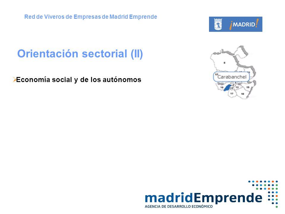 Economía social y de los autónomos Orientación sectorial (II) Red de Viveros de Empresas de Madrid Emprende