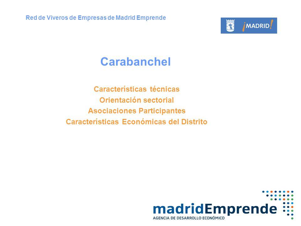 Características técnicas Orientación sectorial Asociaciones Participantes Características Económicas del Distrito Carabanchel Red de Viveros de Empres