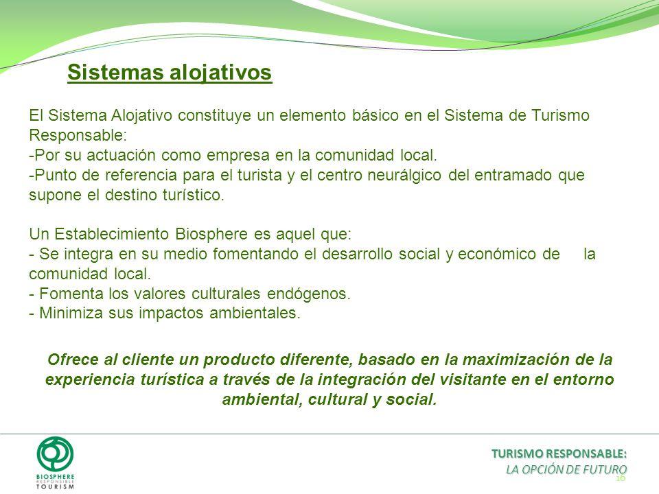 16 Sistemas alojativos El Sistema Alojativo constituye un elemento básico en el Sistema de Turismo Responsable: -Por su actuación como empresa en la c