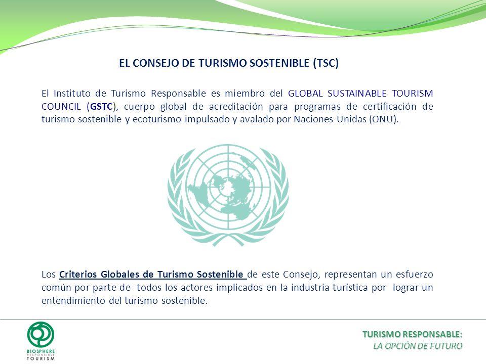 EL CONSEJO DE TURISMO SOSTENIBLE (TSC) El Instituto de Turismo Responsable es miembro del GLOBAL SUSTAINABLE TOURISM COUNCIL (GSTC), cuerpo global de