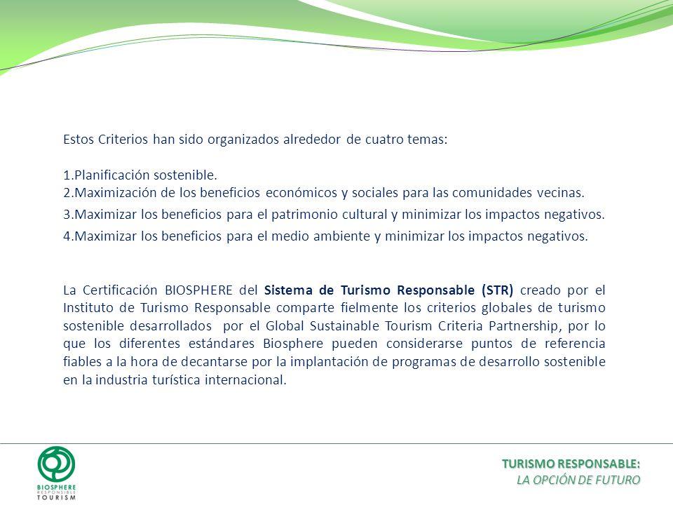 Estos Criterios han sido organizados alrededor de cuatro temas: 1.Planificación sostenible. 2.Maximización de los beneficios económicos y sociales par