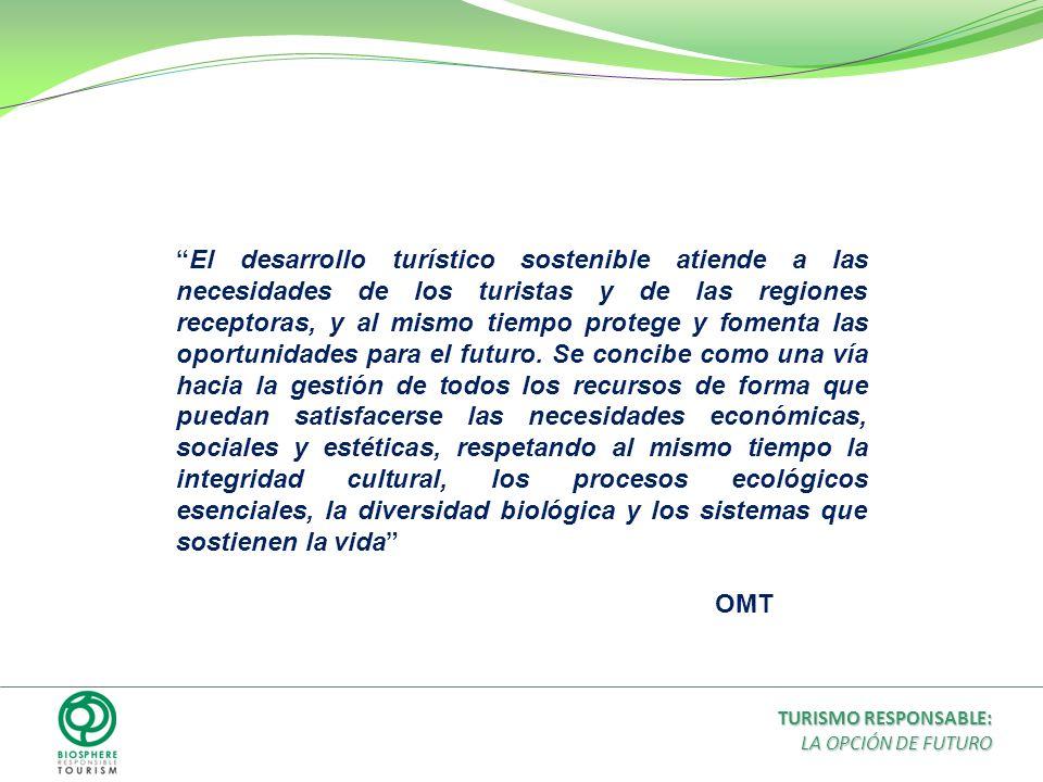 El desarrollo turístico sostenible atiende a las necesidades de los turistas y de las regiones receptoras, y al mismo tiempo protege y fomenta las opo