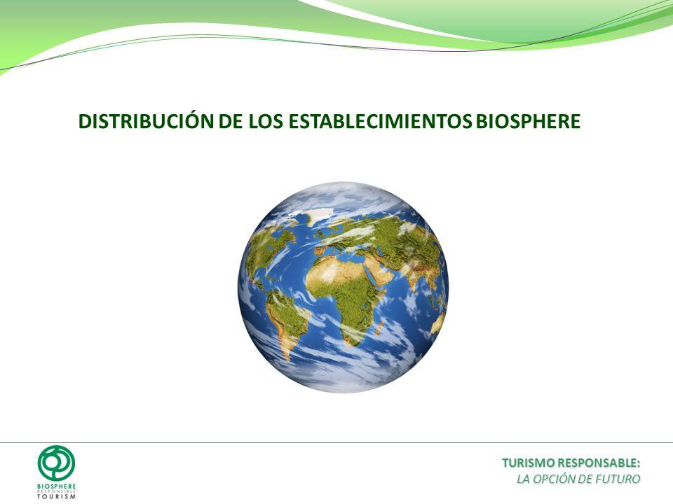 DISTRIBUCIÓN DE LOS ESTABLECIMIENTOS BIOSPHERE TURISMO RESPONSABLE: LA OPCIÓN DE FUTURO